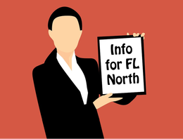 Woman holding Info for Florida North sign