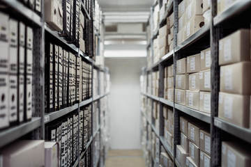Room filled with stored documents - Area 9 Archives Webpage